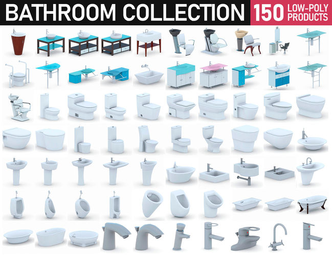 bathroom collection - 150 products 3d model max obj mtl 3ds fbx dae 1