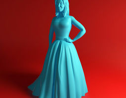 Girl in dress woman 3D printable model