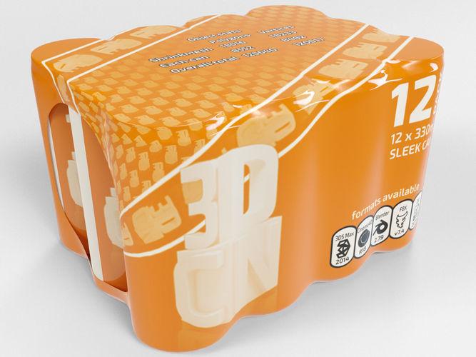 12 shrinkwrapped 330ml sleek beverage cans 3d model max obj mtl fbx c4d blend 1