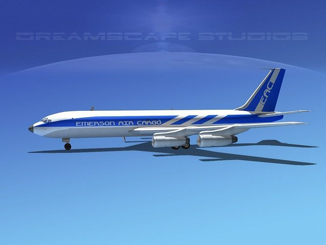 boeing 707 emerson air cargo 3d model max obj 3ds lwo lw lws dxf stl 1
