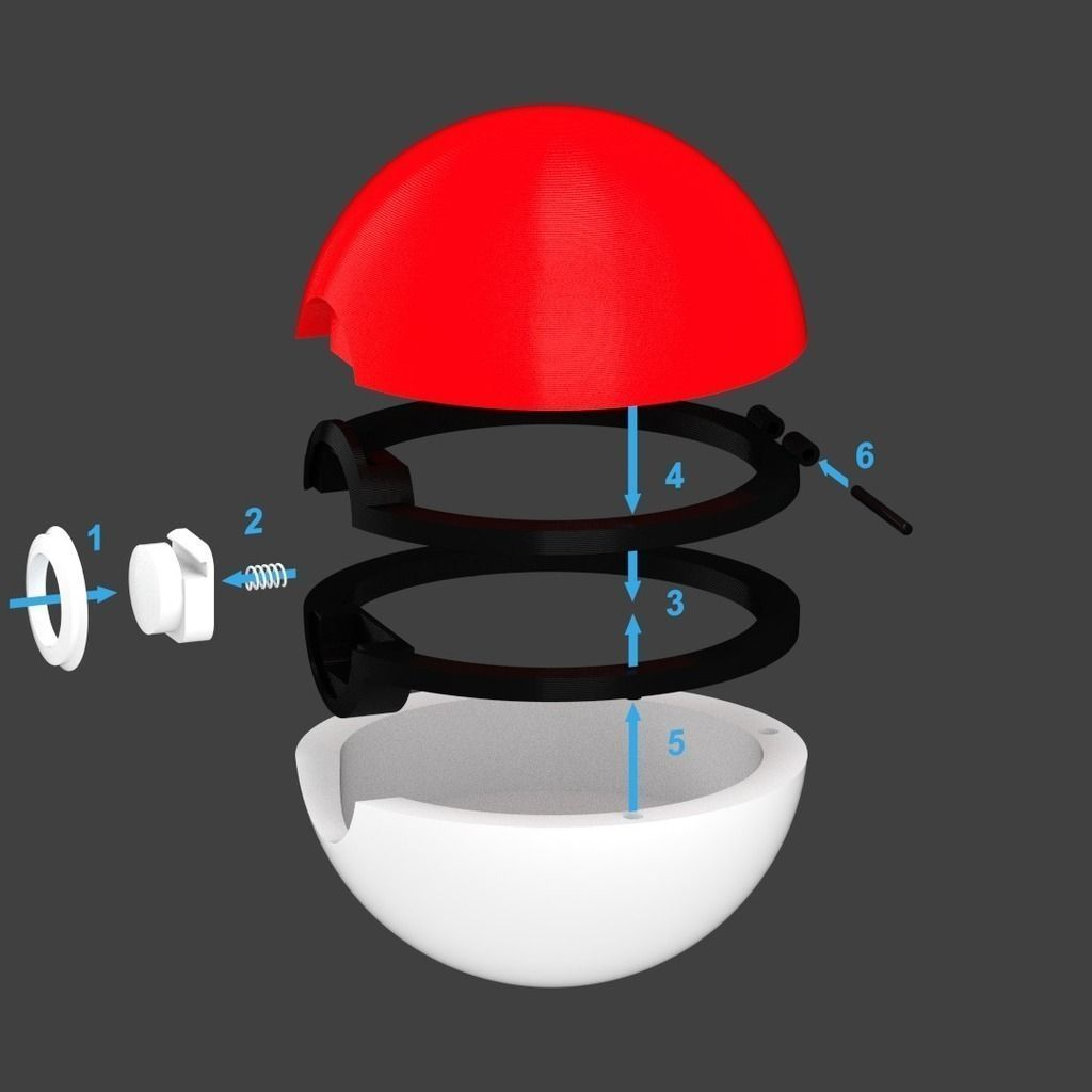 Pokeball With Button Release Lid Free 3d Model 3d