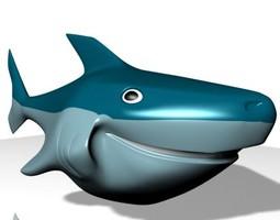 3D asset Smiling Cartoon Shark Character