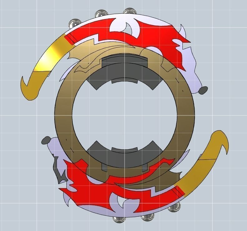 Beyblade Attack Ring Driger Gt Free 3d Model 3d Printable