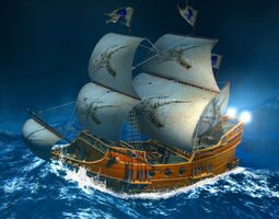 3D model realtime Sailing Ship