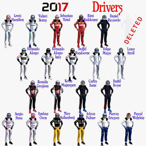 drivers 2017 formula 1 3d model rigged max obj mtl 3ds fbx c4d ma mb 1