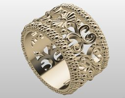 ring 3D printable model wedding band with ornaments