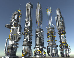 SciFi Buildings - Animated and modular 3D model