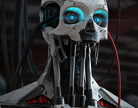 3D High Poly Cyborg Bust