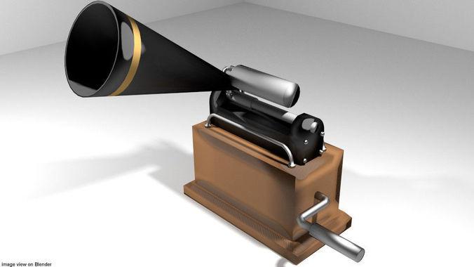 phonograph - type 3 3d model obj mtl 3ds lwo lw lws stl blend dae 1