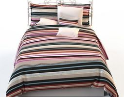 Double bed blanket pillow bedding 3D model