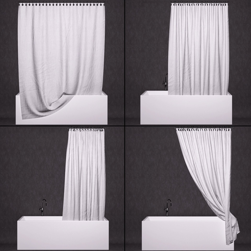 3D Bathtub curtains | CGTrader