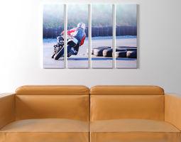 Printed Canvas - Men riding a Motorbike 3D model
