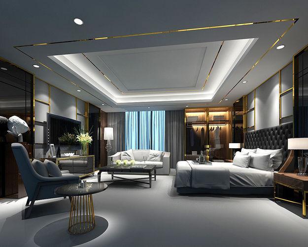 stylish bedroom complete 29 3d model max 1