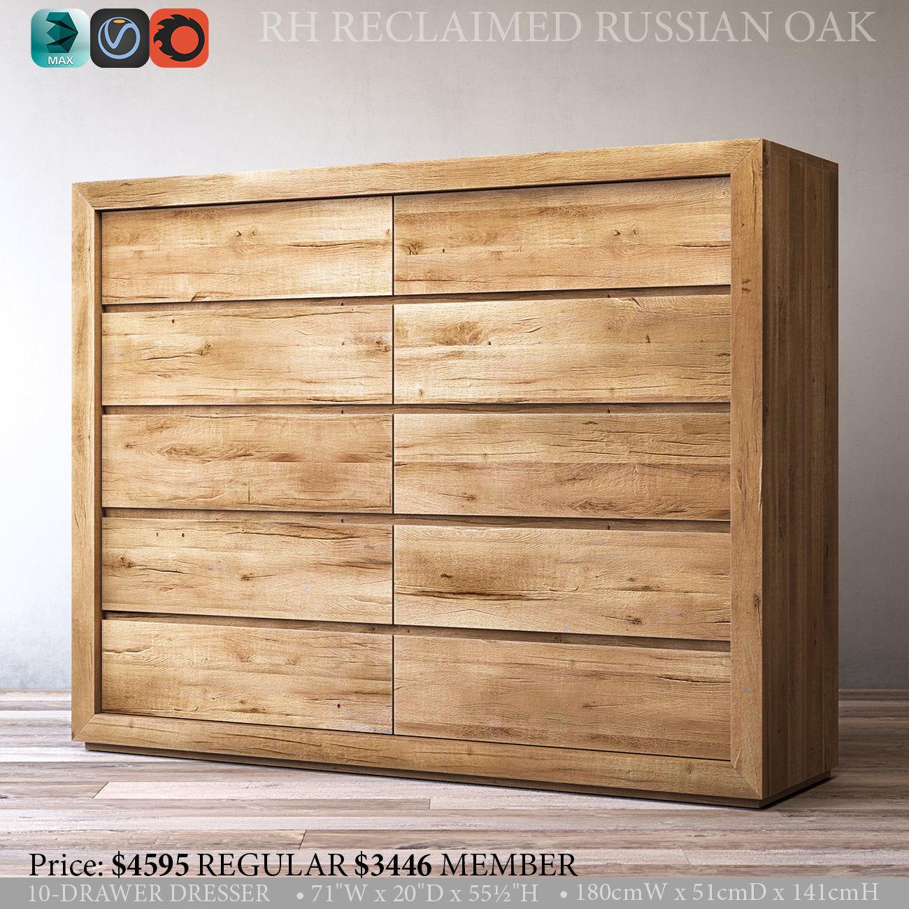 Rh Reclaimed Russian Oak 10 Drawer Dresser 3d Model