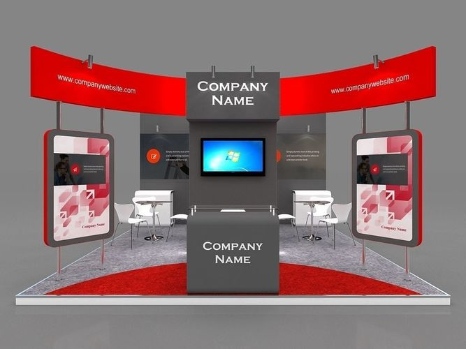 Exhibition Stall Price : Exhibition stall d model mtr sides open cgtrader