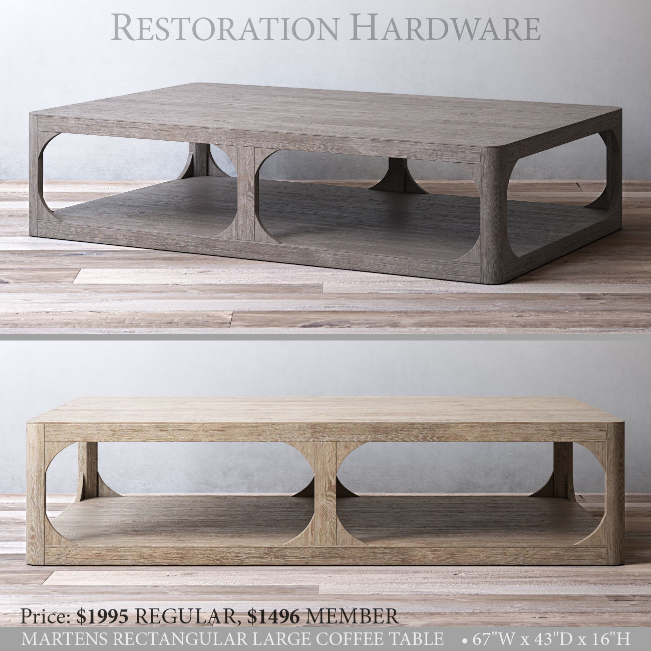 Rh Martens Rectangular Large Coffee Table Model