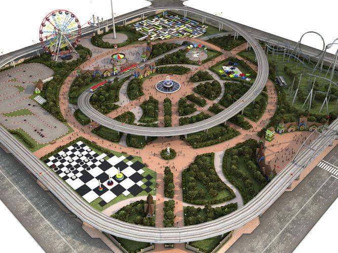 amusement park 3d model low-poly animated max obj mtl fbx 1