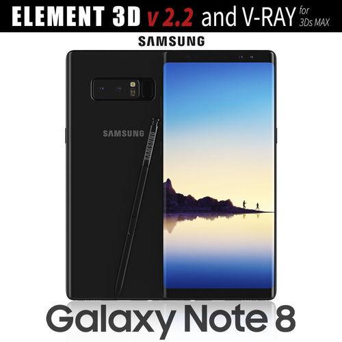 samsung galaxy note 8 midnight black 3d model max obj 3ds mtl mat 1
