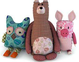 3D model Toys bear pig owl baby