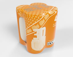 4 Shrinkwrapped 330ml Sleek cans 3D