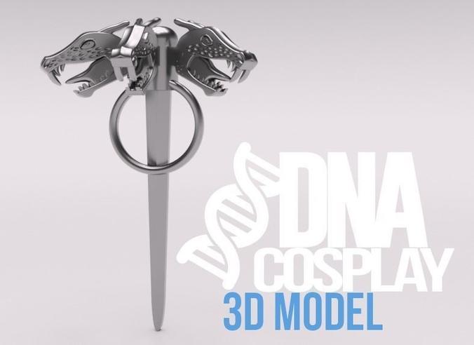 daenerys targaryen three-headed dragon pin 3d model stl 1