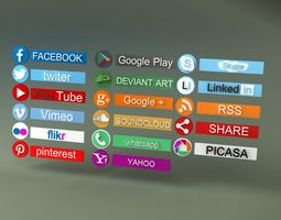 17 Social icons HD 3D model game-ready