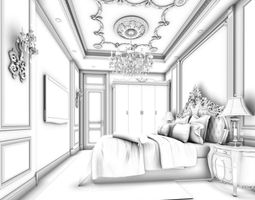 3D Stylish bedroom complete 125