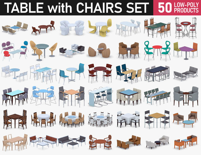 table with chairs collection 3d model max obj mtl 3ds fbx dae pdf 1