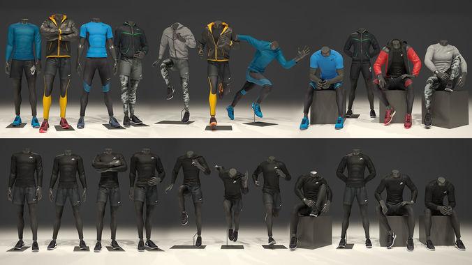 man mannequin nike full pack 3d model max obj fbx 1