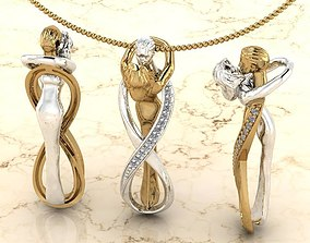 3D printable model endless couple pendant