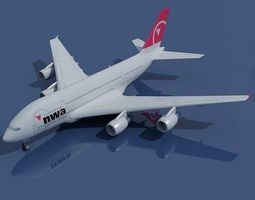 North West Airbus A380 3D model