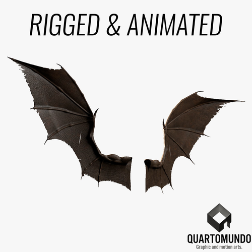pair of bat wings c4d 3d model low-poly rigged animated c4d 1