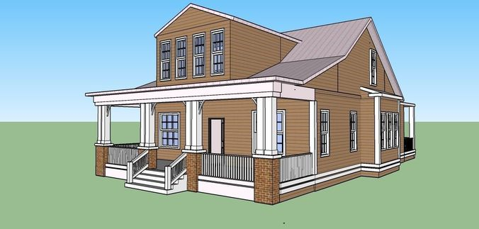 Sketchup model of american house 3D | CGTrader
