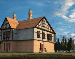 game-ready A 3D model of villa architecture in ancient