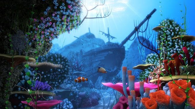 cartoon underwater ship scene 3d model obj fbx ma mb mtl tga mel 1