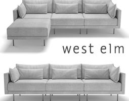 West Elm Halsey Sectional Sofa 3D