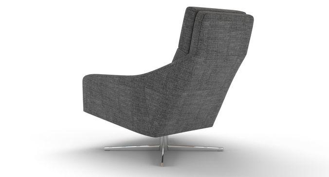3D model West Elm Austin Swivel Armchair CGTrader