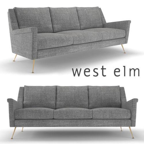 west elm carlo mid-century sofa 3d model max obj mtl fbx 1