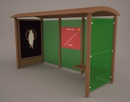 Bus Shelter stop 3D