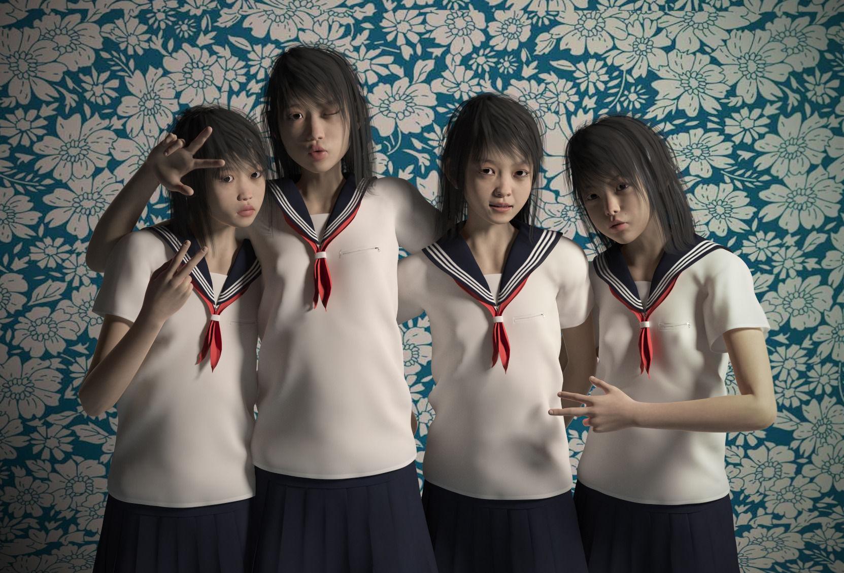 Asian girls for Genesis 2 Female pack