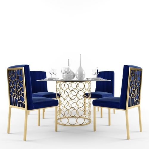 Meridian Opal Dining Room Set In Gold And Navy Model