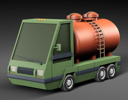 Cartoon car tank 3D asset