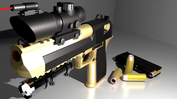 desert eagle pack--pbr metal 3d model obj mtl fbx blend 1