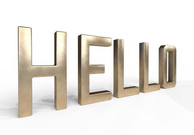 decor object - hello text 3d model obj mtl 3ds fbx dae 1