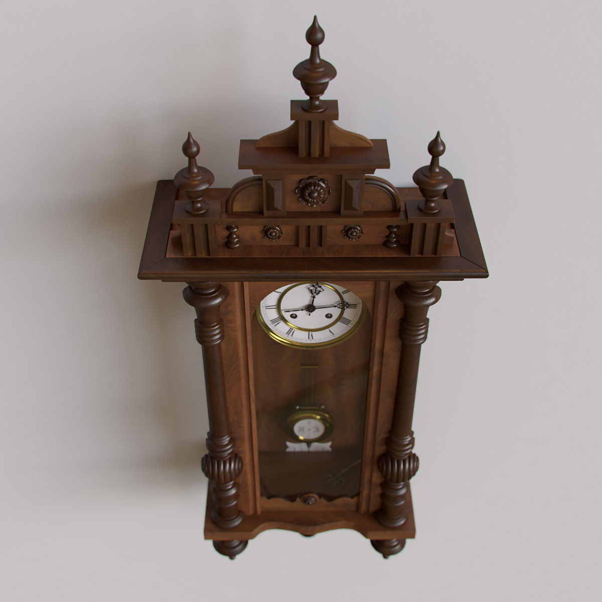 Antique Pendulum Wall Clock 3D Model .max .obj