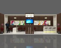 Exhibition stall 3d model 9x3 mtr 1 side open stand