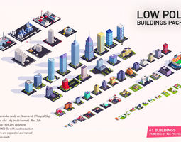 3D model realtime Low Poly Buildings City Pack 2