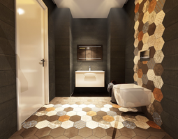 Bathroom Scene 3D model 02 bath