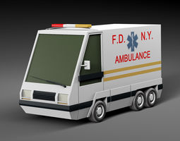 3D asset low-poly Cartoon car ambulance