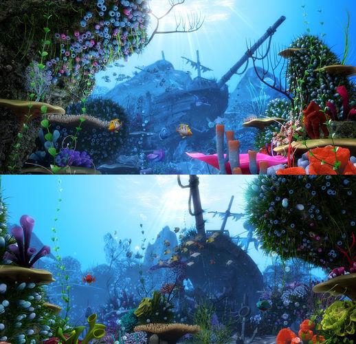 cartoon underwater scene rigged animated 3d model rigged animated fbx ma mb tga 1